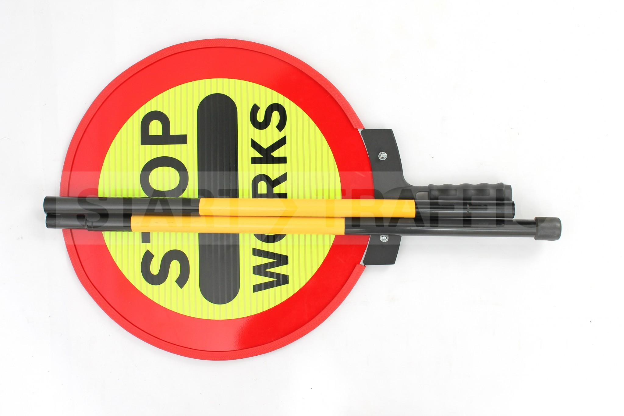 Folded up STOP WORKS sign