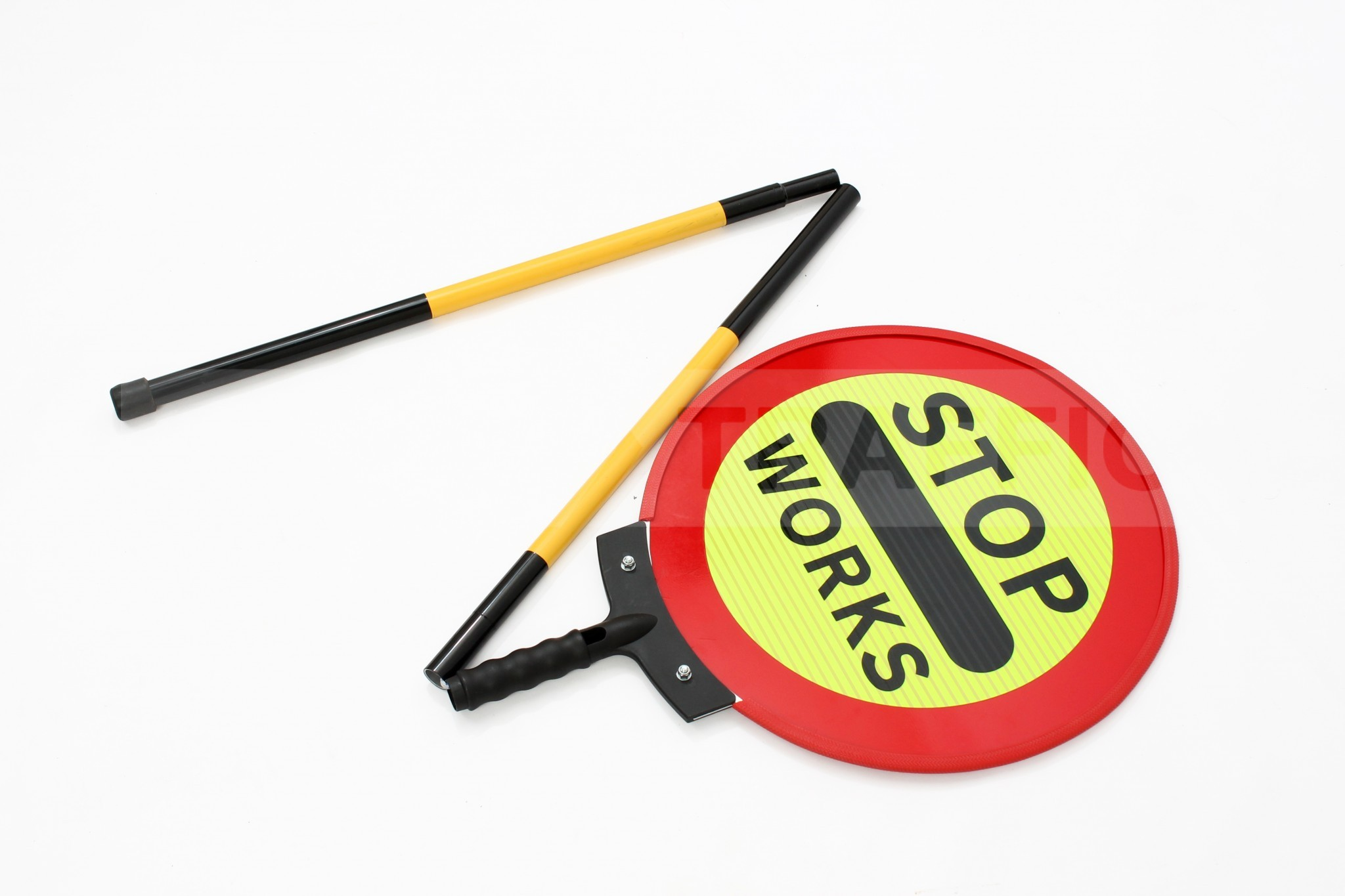 Collapsible handle on STOP WORKS sign